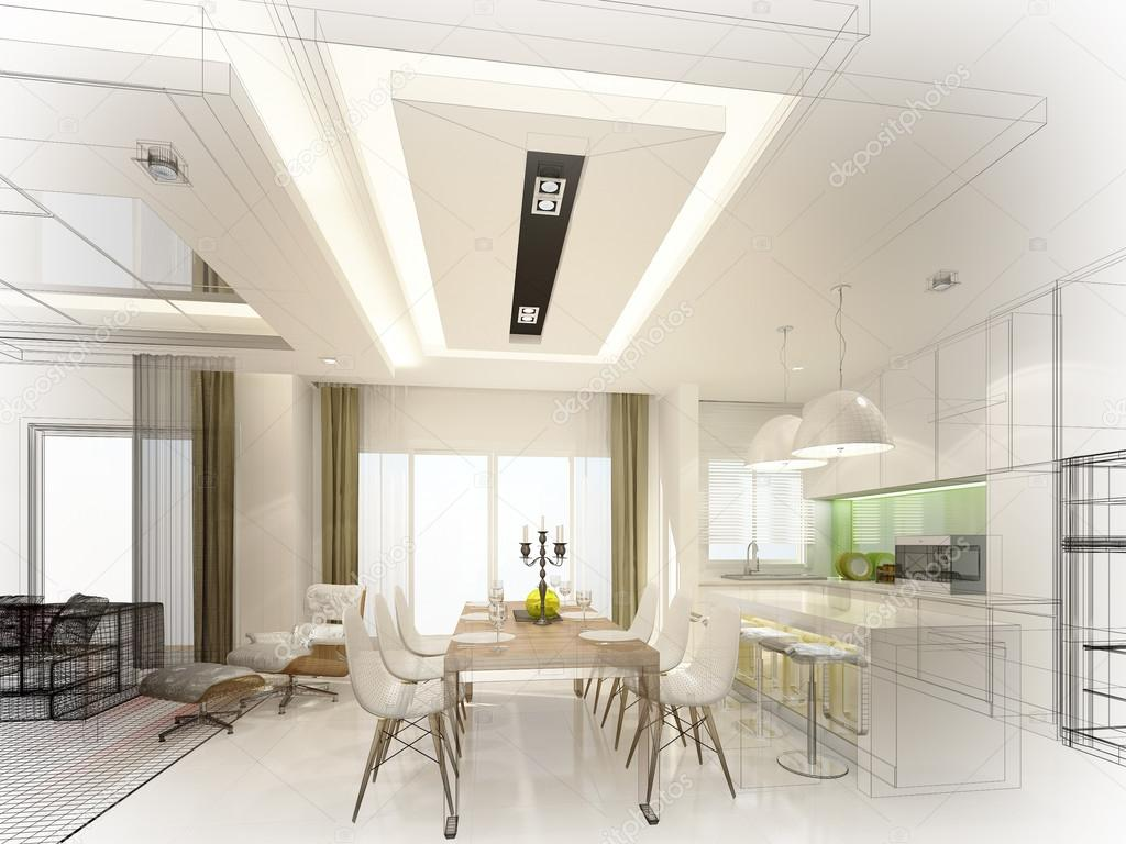 Abstract Sketch Design Of Interior Dining And Kitchen Room 3d