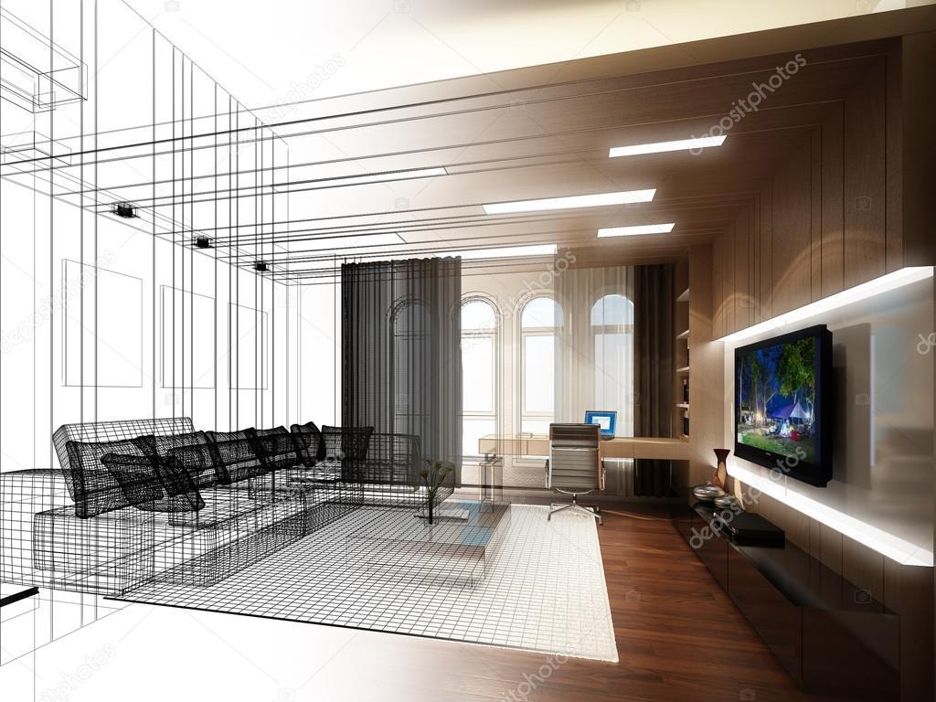 schets ontwerp van woonkamer, 3dwire frame render — Stockfoto ...