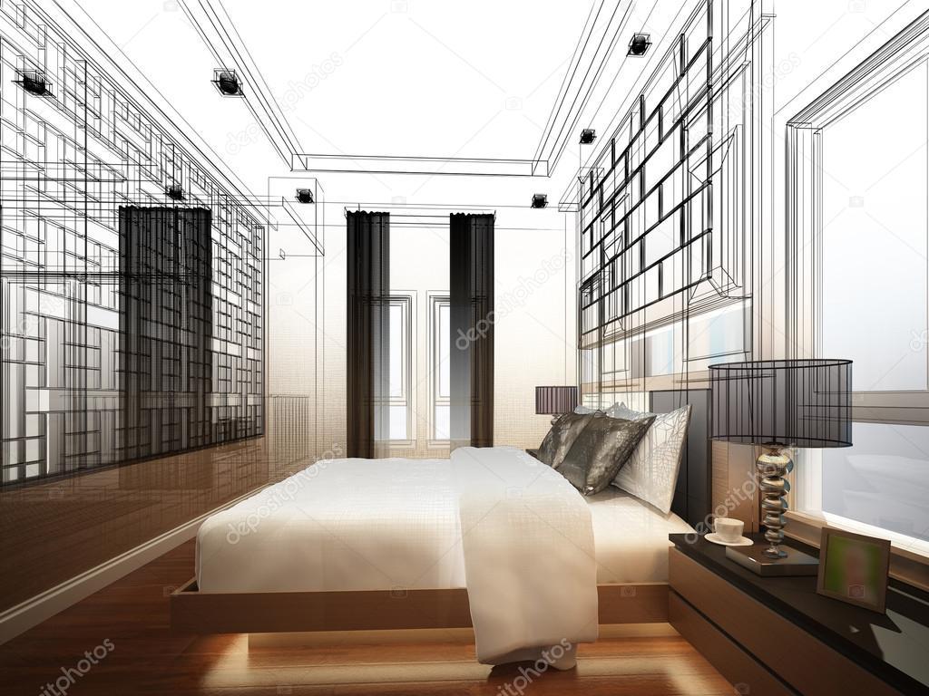 Slaapkamer Met Kunstmuur : Abstracte schets ontwerp van interieur slaapkamer u2014 stockfoto