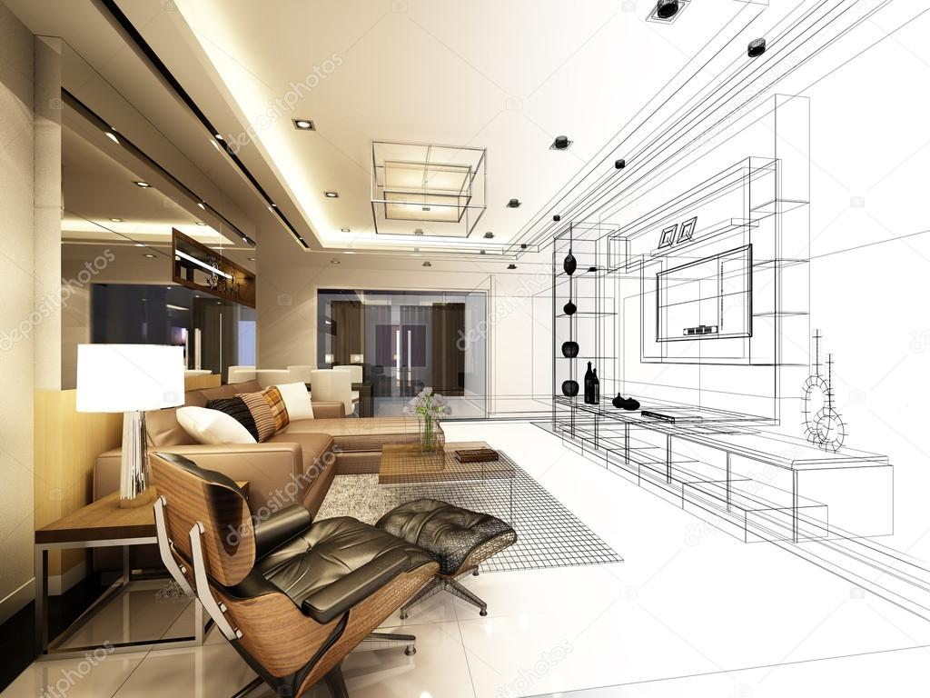sketch design of living ,3d wire frame rendering — Stock Photo ...