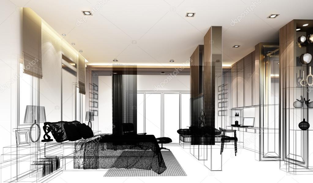 Croquis abstrait design dintérieur chambre à coucher rendu 3d image de yaryhee