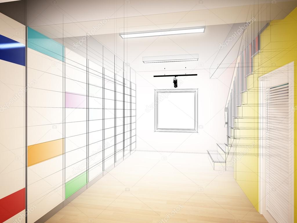 Schets ontwerp van interieur trap hall d rendering u stockfoto