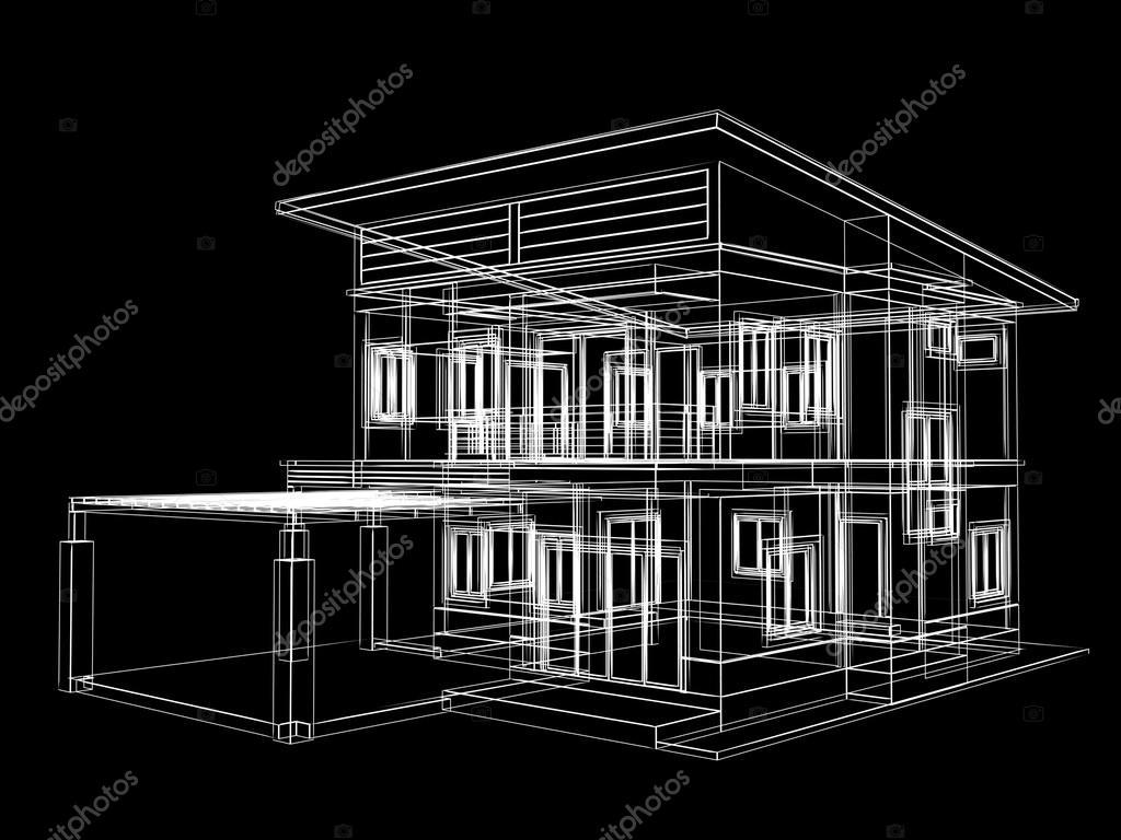 Schizzo astratto design di casa su sfondo nero 3dwire for Schizzo di design per la casa