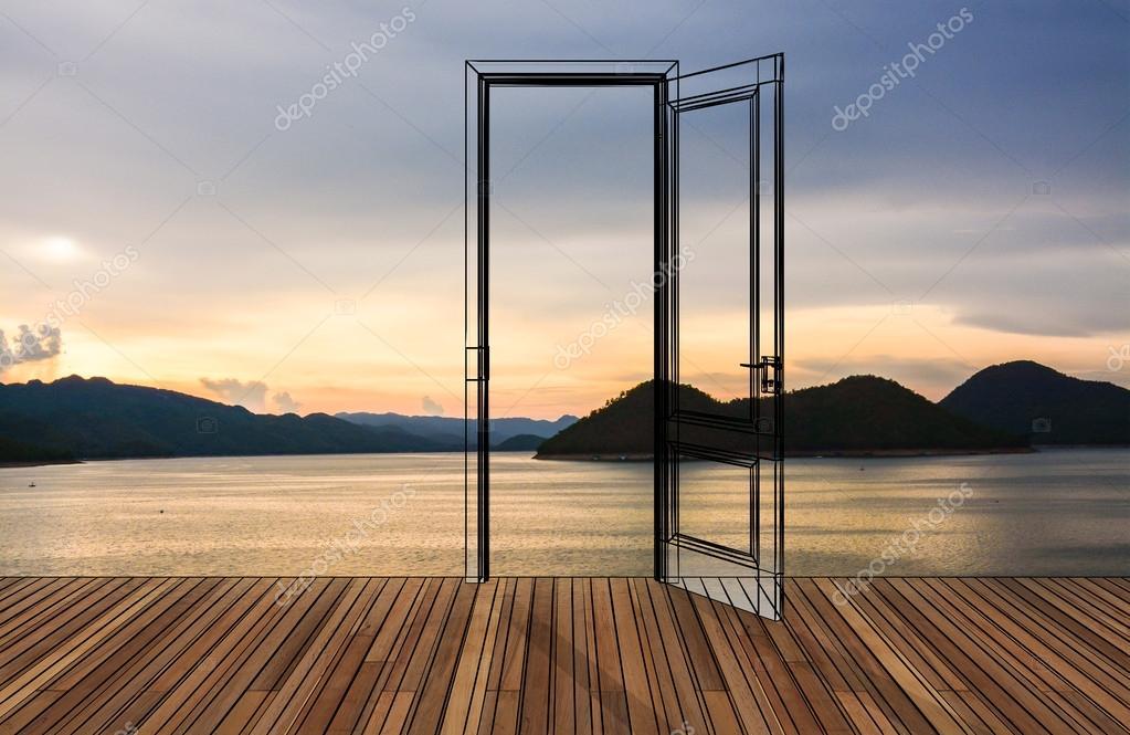 Landscape behind the opening door
