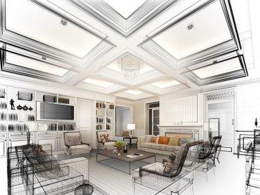 Sketch design of living ,3dwire frame render stock vector