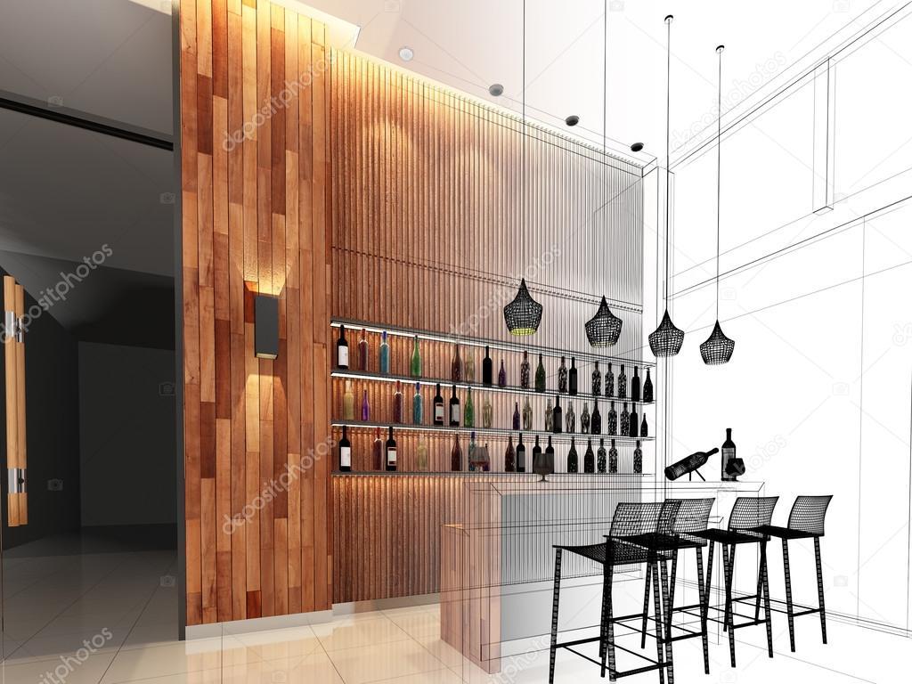 Sketch design of counter bar ,3dwire frame render — Stock Photo ...
