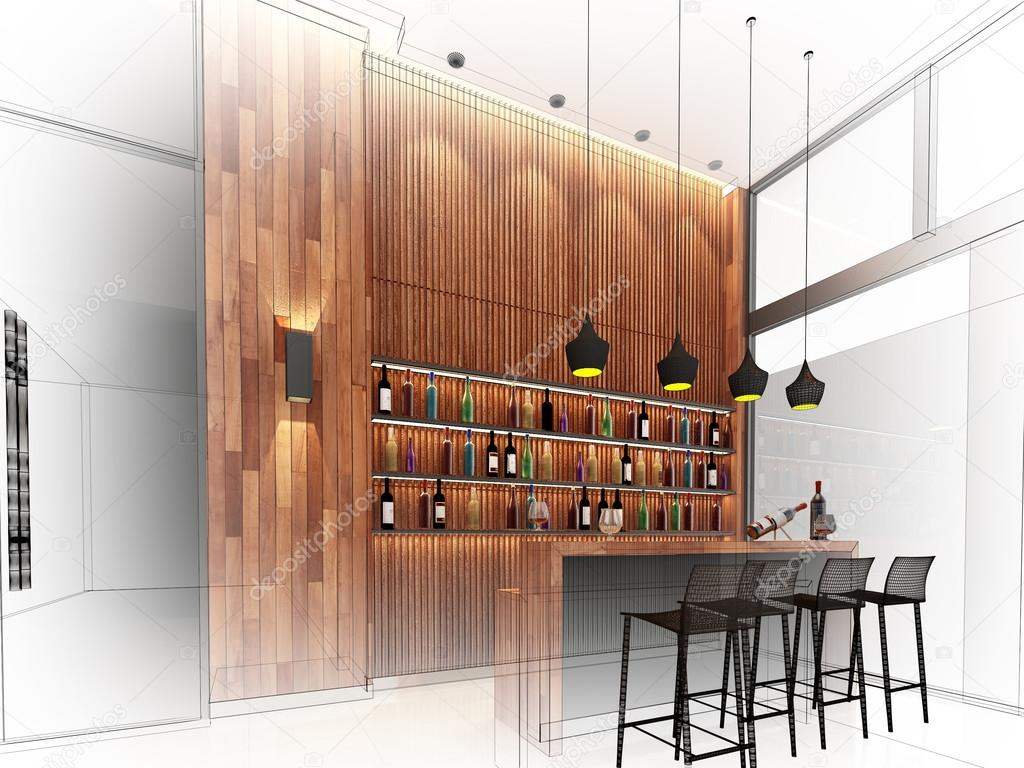 Skizze-Gestaltung der Theke Bar, 3dwire Frame gerendert — Stockfoto ...
