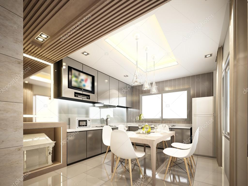 Progettazione 3D di interna cucina, 3d rendering — Foto ...