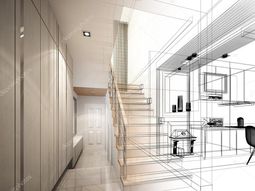 Schets ontwerpen van trap hall dwire frame render u stockfoto