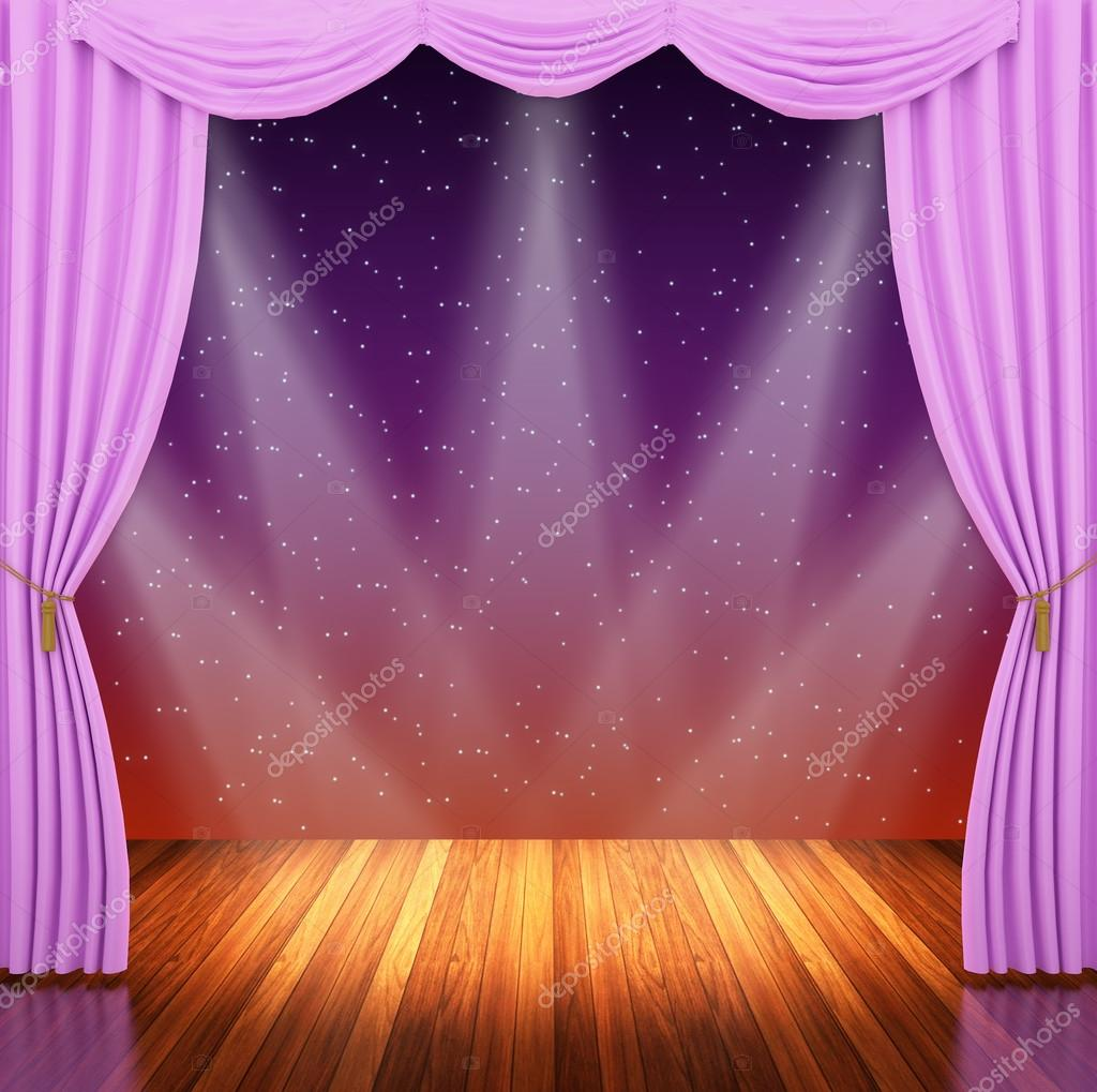 Stage With Pink Curtains And Spotlight Stock Photo