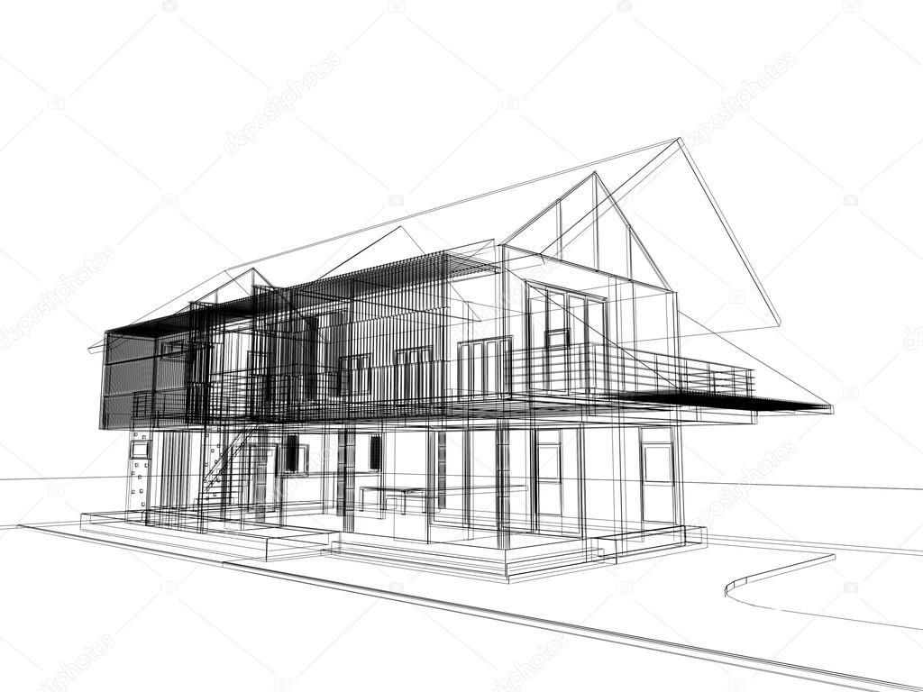 Abstracte schets ontwerp van buitenkant huis u stockfoto yaryhee