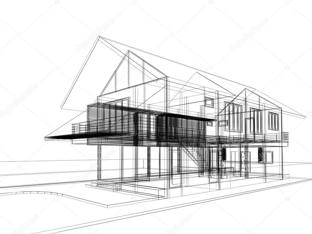 Abstracte schets ontwerp van buitenkant huis u2014 stockfoto © yaryhee