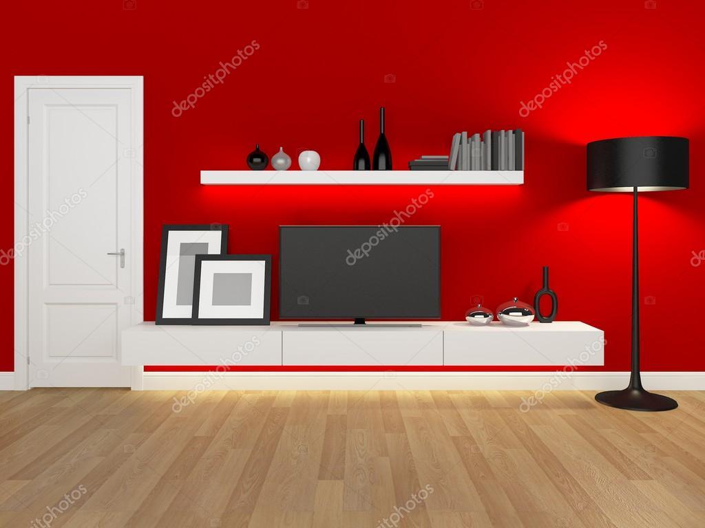 Rouge De Salon Avec Meuble Tv Et Biblioth Que Rendu  # Meuble Tv Salon Bibliotheque