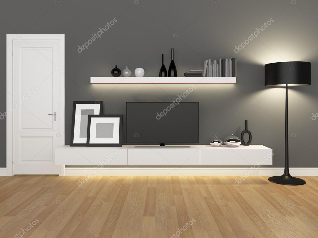 Grey Living Room With Tv Stand And Bookcase Rendering Stock Photo Image By Yaryhee 93826202