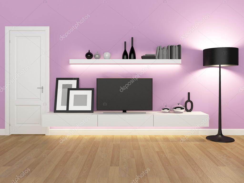 Rose Salle Manger Avec Meuble Tv Et Biblioth Que Rendu  # Meuble Tv Rose