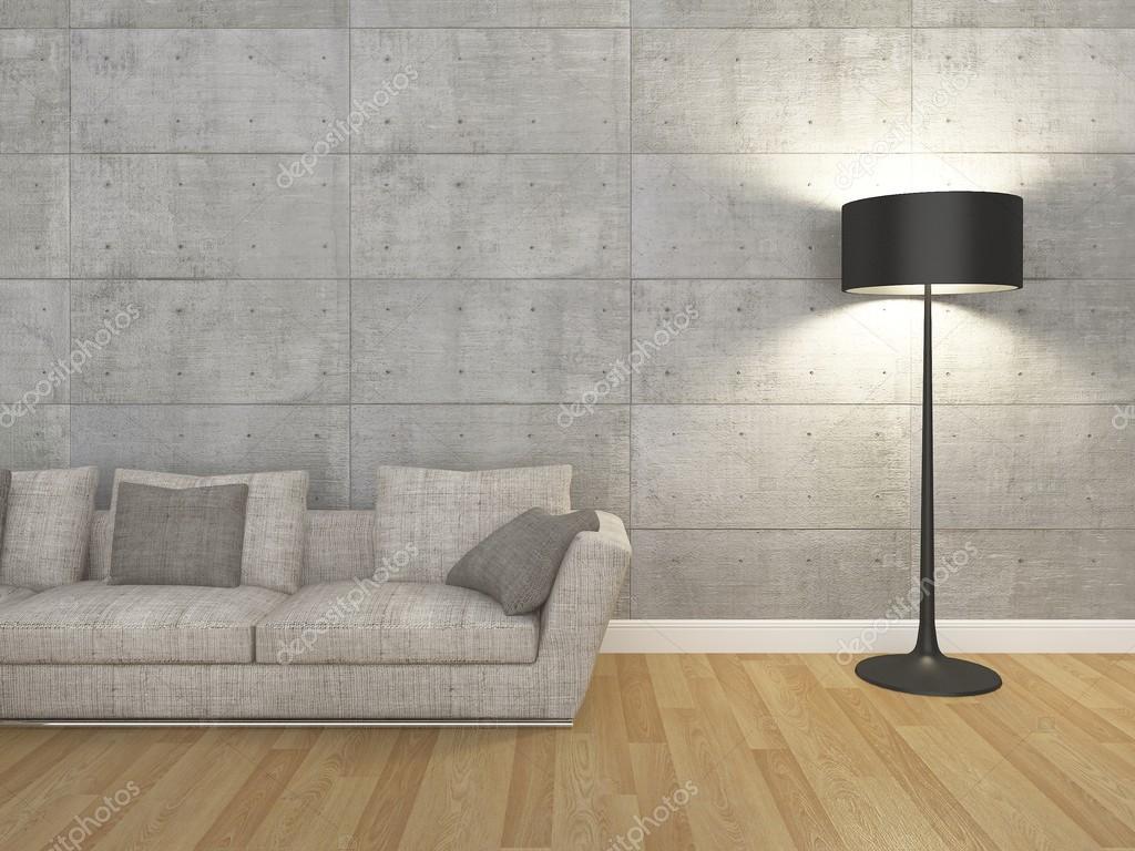 soggiorno con divano e lampada da terra - 3d rendering — Foto Stock ...