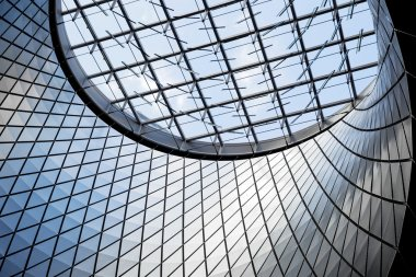 architecture blue glass ceiling inside contemporary business hal