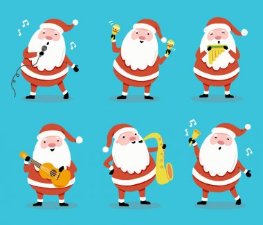 Set of cartoon Santa Claus in different poses with musical instrument for christmas banner, greeting card illustration. Santa character collection. icon
