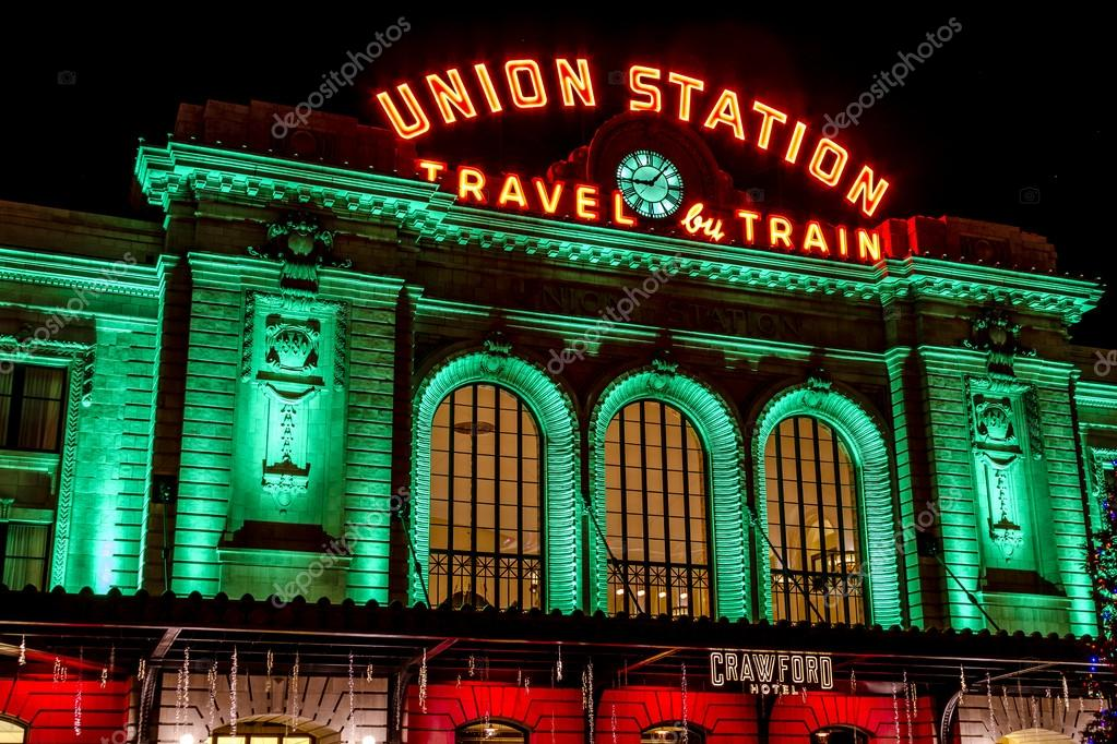 Depot Weihnachtsbeleuchtung.Weihnachtsbeleuchtung In Denver Colorado Usa Redaktionelles