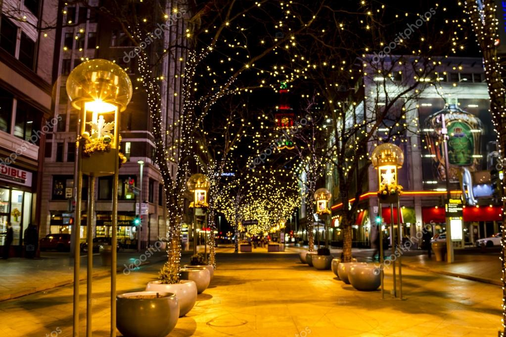 DENVER COLORADO December 7, 2014 Holiday light display along Denver's 16th  Street Mall with historic landmark the Daniel Fisher Tower in distance with  red ... - Holiday Lights In Denver Colorado USA €� Stock Editorial Photo