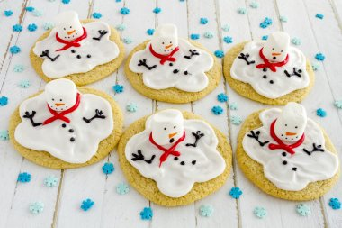 Melting Snowmen Decorated Sugar Cookies