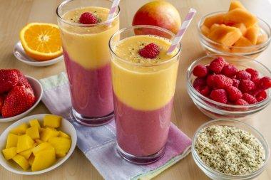 Mango Orange Raspberry Strawberry Smoothies