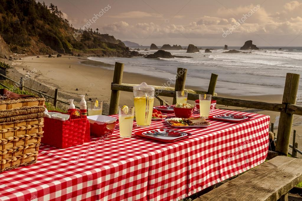 Sunset Picnic on Ocean Overlook