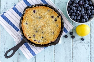Blueberry Cobbler Baked in Cast Iron Skillet