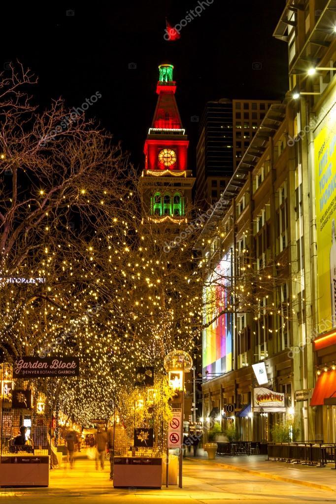 Weihnachtsbeleuchtung an der 16th Street Mall Denver Co ...