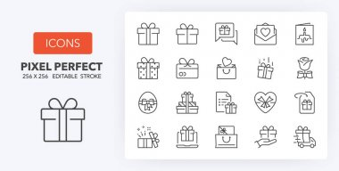 Gifts and presents. Thin line icon set. Outline symbol collection. Editable vector stroke. 256x256 Pixel Perfect scalable to 128px, 64px... icon