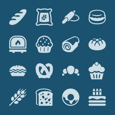 bakery icons set blue