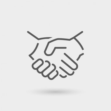 Business icon handshake, thin line, black color with shadow stock vector