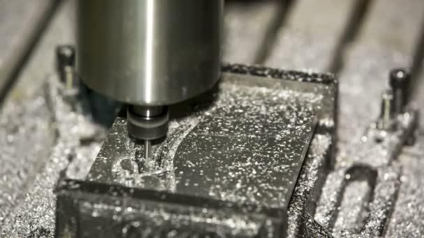Metal Lathe Cutting Aluminium. Close-up shot.
