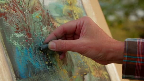 Painter Drawing A Picture of Autumn Landscape.  Close-up.