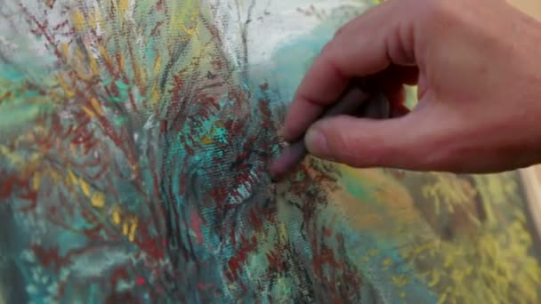 Close-up Footage. Painter Drawing A Picture of Autumn Landscape With Chalks
