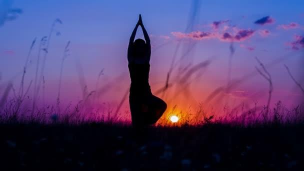 Sziluettjét, egy fiatal lány csinál jóga fa pózol a naplemente