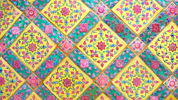 4K Old wall ceramic tiles patterns handcraft from thailand temple wall public