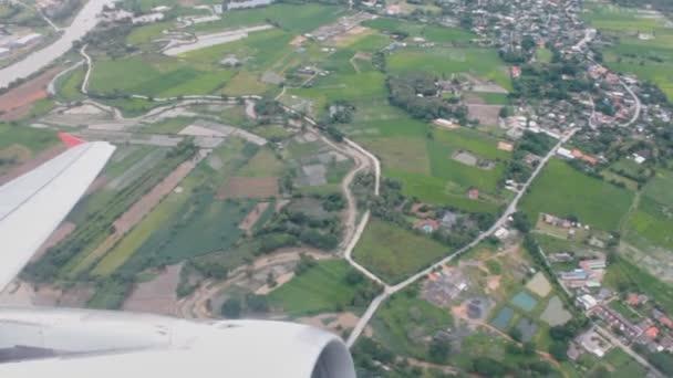 Repülőgép felszálló légi View tájkép