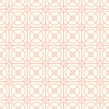 Pink Circle and Square and Hexagon Seamless Pattern