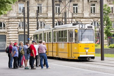 Tourists Waiting For Cable Car At Kossuth Square, Budapest, Hungary