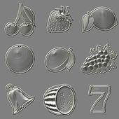 Photo Metal relief slot machine fruit symbols