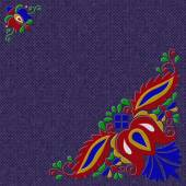 Photo Moravian folk ornament relief painting on generated knit texture