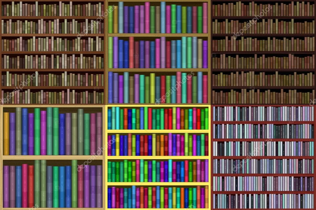 Set Of Bookshelf Generated Textures Stock Photo