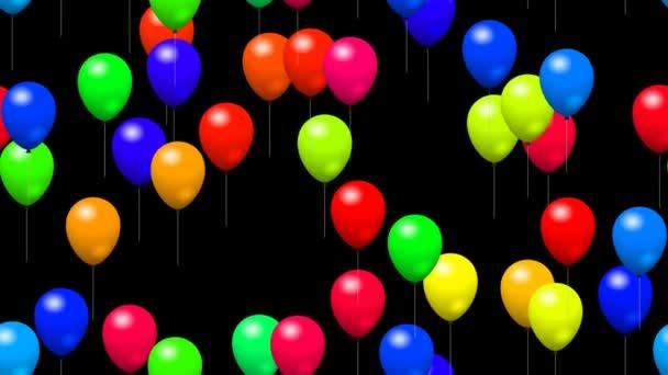 Balony strana vygenerována bezešvá smyčka video s alfa kanálem
