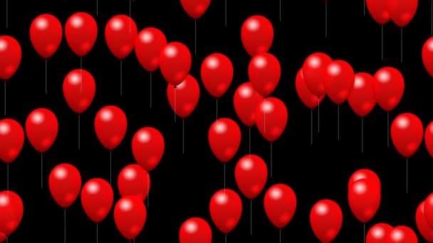 Strany červené balónky generovány bezešvá smyčka video s alfa matný