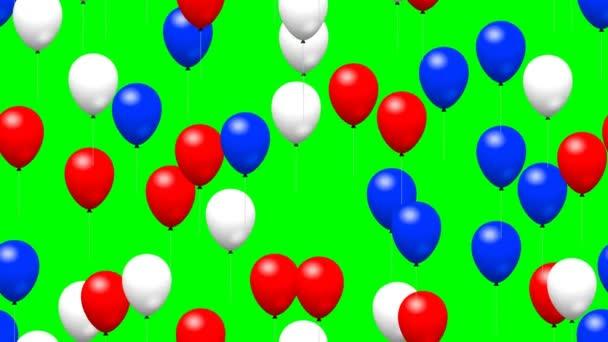 Balony strana vygenerována bezešvá smyčka zelená obrazovka