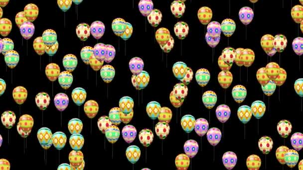 Easter eggs balloons generated seamless loop video with alpha matte