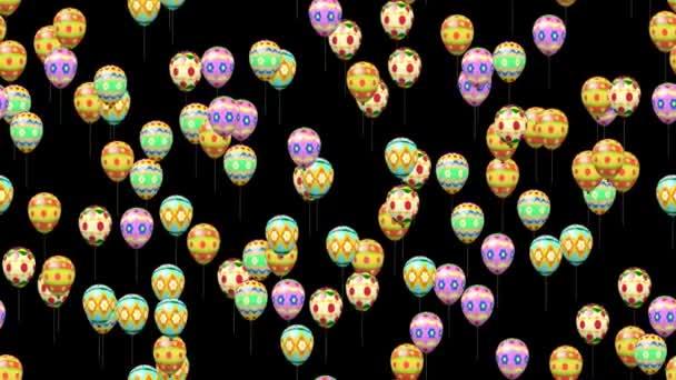 Pasqua uova palloncini generate seamless loop video con mascherino alfa