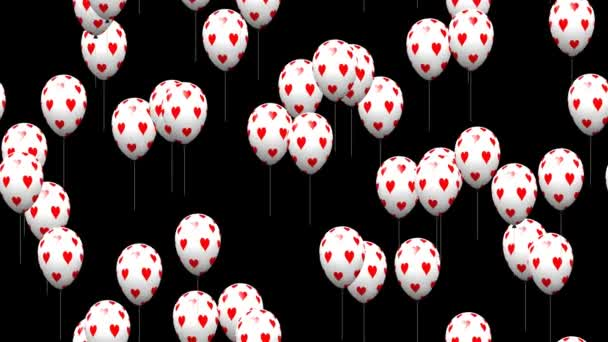 Valentine heart balloons generated seamless loop video with alpha matte