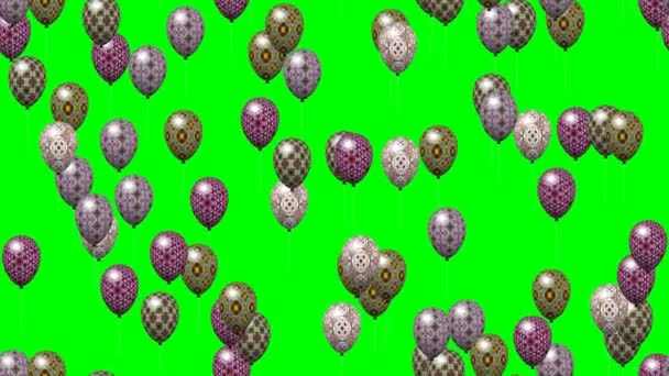 Easter eggs balloons generated seamless loop video green screen